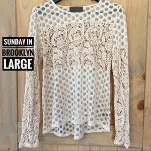 Anthropologie Sunday in Brooklyn Lace Crochet Top